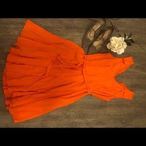 NWOT Ann Taylor Orange V-Neck Dress